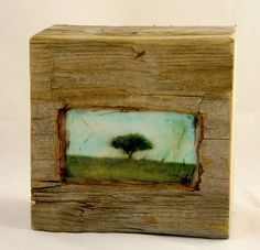 Hiding places - The Apple Tree - original encaustic mixed media carved in reclaimed barn wood    *This is AMAZING*
