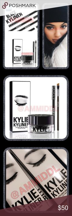 "Kylie  KYLINER KIT in BLACK The Kyliner Kit combines the perfect shades, textures & tools to create the most defined & sultry ""Kylie eye.""  Black is a matte true black.  The ultra-long wearing crème gel eyeliner has a creamy texture on application, then sets up for all day wear w/o smudging or smearing.  The eyeliner has a creamy texture that glides across the eyes for a very easy & comfortable application & long wearing finish. Kylie Cosmetics Makeup Eyeliner"