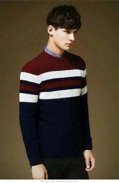 Men stylish White Stripe Woolen CrewNeck Pullover Sweater | Winter Clothes