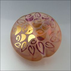 PEACH BOUQUET - Peach and Gold Fumed Sandblasted Lampwork Lentil Pendant Bead by Beads by Stephanie, via Flickr
