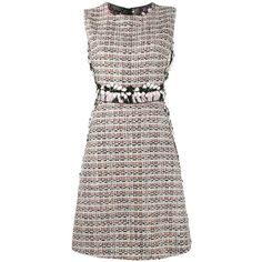 Giambattista Valli tweed shift dress (2,805 CAD) ❤ liked on Polyvore featuring dresses, print shift dress, white day dress, white skater skirt, colorful dresses and shift dress