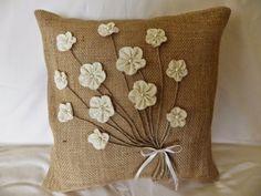 Handmade Burlap Decorative Pillow With Muslin Flowers, Pearl Bead Centers, and… Burlap Pillows, Sewing Pillows, Decorative Throw Pillows, Burlap Projects, Burlap Crafts, Sewing Projects, Diy Arts And Crafts, Hobbies And Crafts, Diy Home Crafts