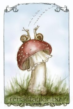Two snails on a mushroom. Cute and whimsical with a bit of flair at the edges.