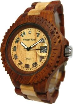 Tense Sandalwood & Maple Sports Mens Wood Watch G4100SM Tense Wood Watches. $134.94. 2 year warranty from Tense. Watch becomes more beautiful as worn from oils from the skin. Water splash resistant, and very light weight and comfortable. Comes in Tense gift box with watch pillow and instructions for care. New generation of watch, RARE, and UNIQUE and expect compliments when worn