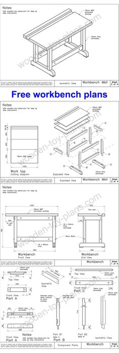 Very solid workbench plans available at no charge. Includes step by step instructions with photos. Great project for beginners. #workbenchplans #diyworkbench