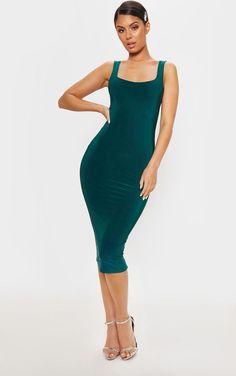0457746cb2e Jade Green Slinky Strappy Midi Dress