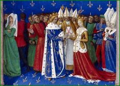 "jeannepompadour: ""Marriage of Charles IV of France and Marie of Luxembourg from the Grandes Chroniques de France by Jean Fouquet, "" Saint Michael, Medieval Life, Medieval Art, Medieval Wedding, Medieval Dress, French History, European History, Medieval Manuscript, Illuminated Manuscript"