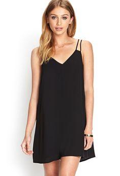Vestido gasa suelto correa de espagueti-negro 10.54