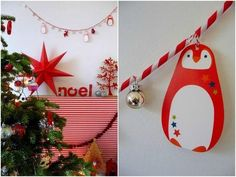 Guirlande de Noël en pailles en papier. – Paper straw Christmas garland.