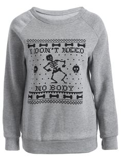 $8.07 Skeleton Game Printed Sweatshirt