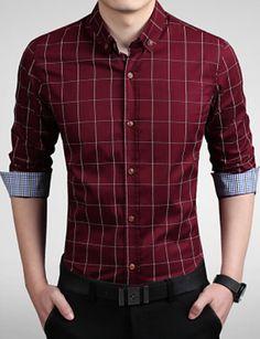 Hombre Negocios Trabajo Tallas Grandes Estampado - Algodón Camisa 4f206c39bd4