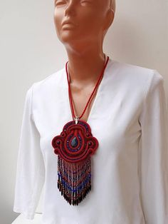 gemstone soutache pendant necklace red & midnight blue