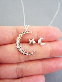 Crescent moon and star set, star and moon Jewelry, Dainty Moon charm, moon and star stud earring, moon and star set