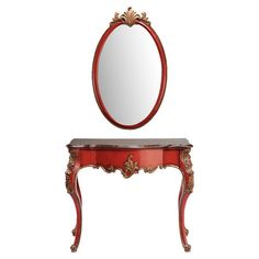 Finished in venetian red and accented by ornate copper-hued carvings, this elegant console table and mirror set brims with sophisticated style.