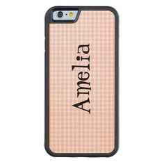 Light pink white gingham country girly cute chic maple iPhone 6 bumper