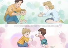 Dean's first steps vs Sam's first steps - Wasn't gonna use my heart today anyway