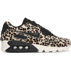 Nike Air Max 90 leather-trimmed calf hair sneakers found on Polyvore featuring shoes, sneakers, black lace up shoes, black shoes, black trainers, leopard sneakers and leopard print shoes
