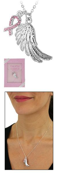 Pink Ribbon & Angel Wing Necklace at The Breast Cancer Site