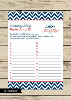Nautical Baby Shower Game for Baby Boy INSTANT by LeeandLoe