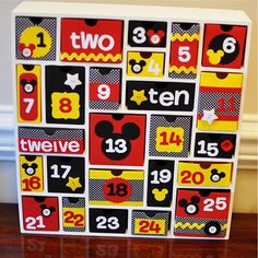 Love this idea to give little gifts for the trip. Mickey Advent calendar-cute to countdown trip.