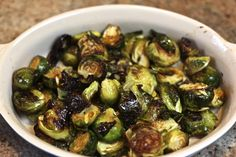 Tin Roof Bistro's Caramelized Brussels Sprouts...Add two slices toasted or grilled Ciabatta bread to bottom of serving dish before adding roasted Brussel Sprouts and Lemon Butter Sauce.