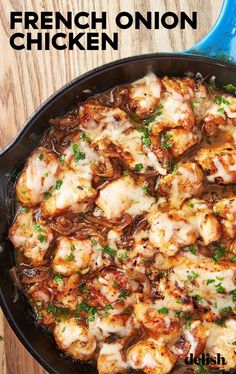 Love french onion soup You need to try this skillet dinner Get the recipe from chicken dinner recipe skillet chicken french meat recipes meat recipes easy onion Crock Pot Recipes, Healthy Chicken Recipes, Soup Recipes, Chickpea Recipes, Dessert Recipes, Onion Recipes, Icing Recipes, Pasta Recipes, Recipies