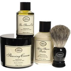 The art of shaving kit. All of the elements he needs to keep his beard looking perfect.