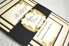 Black, ivory and gold Victoria Collection wedding invitation suite - all paper belly band