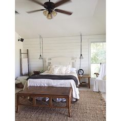 """@houseonthirteenoaks on Instagram: """"Here is another look at our new planked wall in our bedroom. Project nightstand is next for this room!"""" I really love the style of this room. The rug is amazing! It's the Maui chunky loop jute rug from rugsUSA.com"""