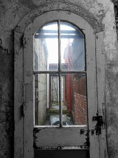 Excited to share the latest addition to my #etsy shop: Looking Through Door at Abandoned Prison Black and White w/ Color Instant Digital Download Architecture Decor Print Rough Paint Glass Panels http://etsy.me/2DuBoJb #art #photography #black #white #abandoned #archit