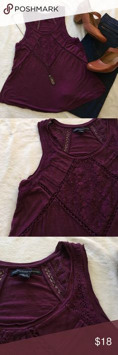 🆕Flowy slub knit loose fit tank with lace insets Cute and comfy slub knit tank in a gorgeous maroon shade. Lace insets and pintuck details with a raw edged hem in a nice flowy fit. Pair with shorts and sandals, jeans or a skirt! Perfect condition, NWOT. Size X-Small. American Eagle Outfitters Tops Tank Tops