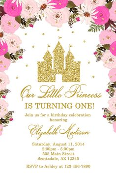 Pink and gold princess birthday party invitation in 2018 birthday princess castle birthday party invitation castle birthday filmwisefo
