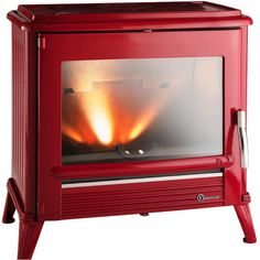 http://www.gr8fires.co.uk/invicta-modena-12-kw-grey-wood-burning-stove-8537/?utm_source=Social&utm_medium=Social - Invicta Modena 12 kW Red Enamel Wood Burning Stove / Woodburner
