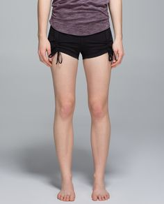 These high-rise shorts give us   just enough coverage in our sweatiest classes. We used sweat-wicking, four-way stretch fabric to help prevent gaping as we bend and twist. Get short-y!