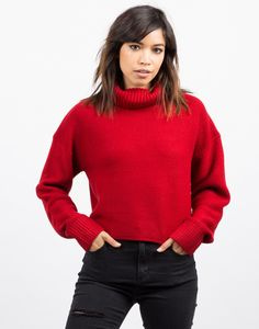 Oversized Crop Turtleneck Sweater - Red Top - Knit Sweater – Tops – 2020AVE