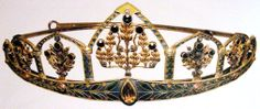 Antique Tiara (sapphires, citrines, diamonds, enamel, gold).