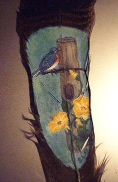 Bluebird Painted on Feather