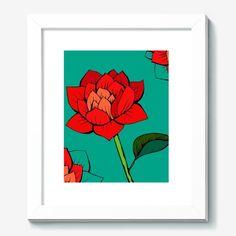Картина Красный лотос, Автор: Камила Нигматуллина, Цена: 3380 р.