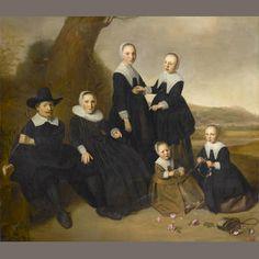 Dirck Santvoort (attr.), portrait of a family in a landscape, 1640's - auction Bonhams,London 2006.