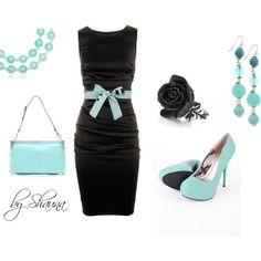Sleeve dress - black + cyan