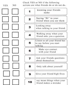 I know it seems Sheldon-esque, but if you have a kid who learns social skills cognitively, this checklist could be useful.  ~ Re-pinned by Total Education Solutions.  Check out the rest of our School Resources and Therapy pins @ http://pinterest.com/totaleducation