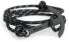 Miansai Black Anchor Rope Wrap Bracelet