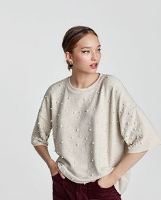 Image 1 of SOFT TOUCH SWEATER WITH FAUX PEARLS from Zara