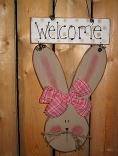 Welcome Wooden Easter Sign by lauraswoodshed on Etsy, $15.00