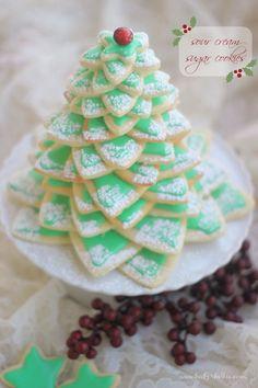 Sour Cream Sugar Cookies Christmas Tree.~T~ Love this stacked sugar cookie Christmas tree. I prefer a cream cheese cookie dough.