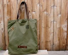 Upcycled  Army Green Canvas Tote  Repurposed Tent by LoHiBags
