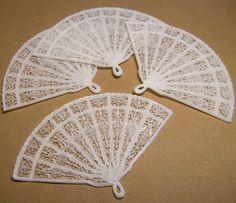 4 XL Vintage Fancy Plastic Fans -  Faux Lace by WindyCitySupplies on Etsy https://www.etsy.com/listing/197378139/4-xl-vintage-fancy-plastic-fans-faux