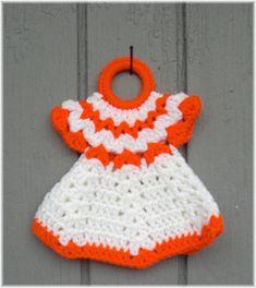 Doll Dress Pot Holder Orange & White by DebbieCrochets on Etsy, $6.00