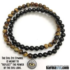 "The #Evil #Eye Symbol is meant to ""reflect"" the power of the evil look. This Tiger's Eye  (protection 