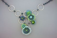 Elizabeth Hopkins Designs Lampwork beaded necklace with rubber and sterling